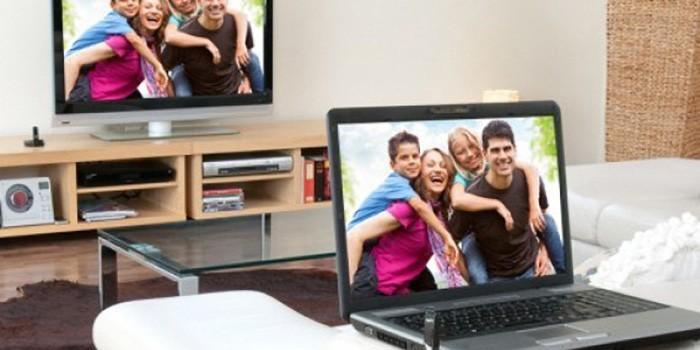 подключение ноутбука к телевизору через wifi