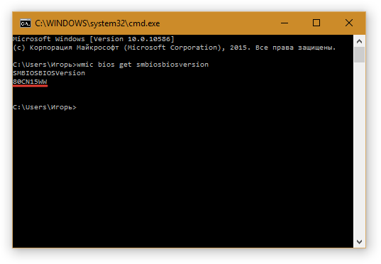 версия BIOS в командной строке