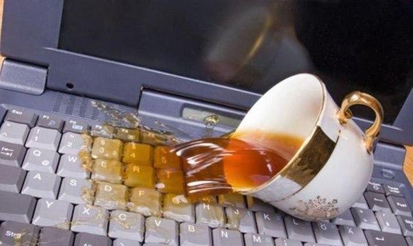 Если пролили на клавиатуру ноутбука чай, кофе, сок или воду