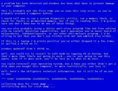 синий экран смерти на ноутбуке